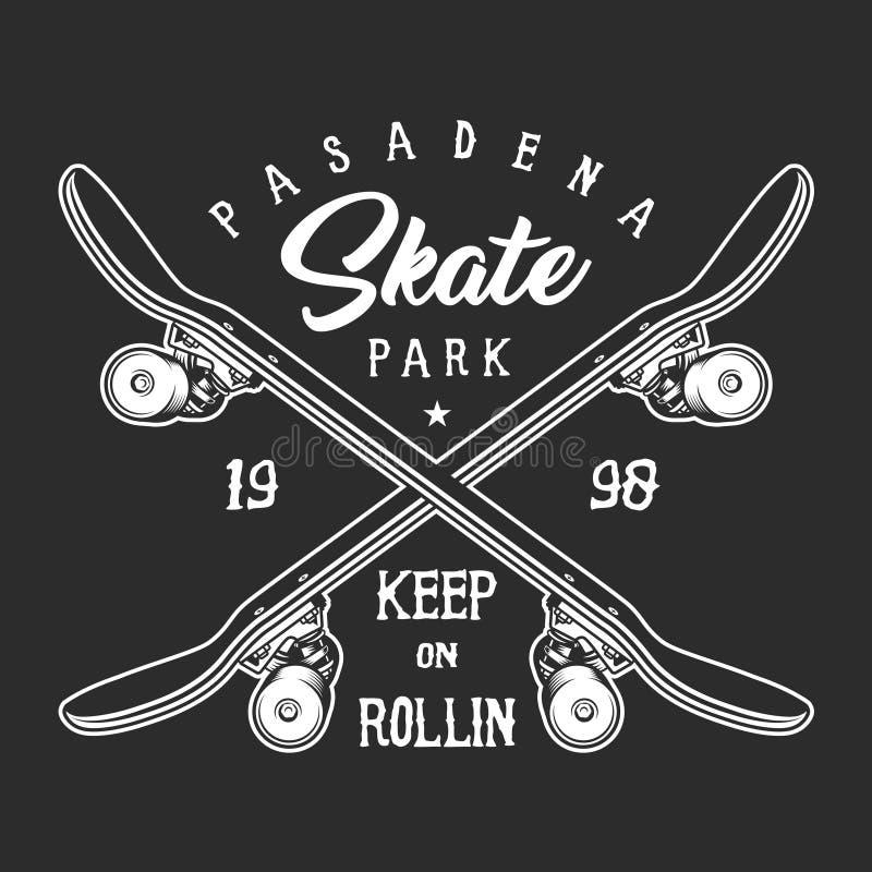 Conceito monocromático skateboarding da etiqueta do vintage ilustração do vetor