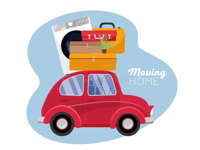 Conceito movente carro vermelho do vintage com malas de viagem, máquina de lavar e planta no telhado Ilustra??o lisa do vetor dos ilustração do vetor