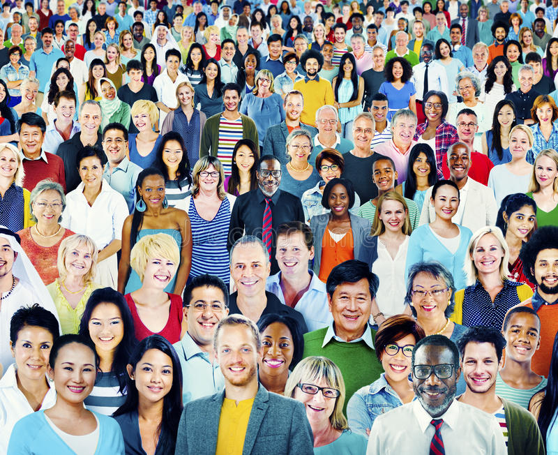 Conceito multi-étnico do grande grupo de pessoas da diversidade fotos de stock