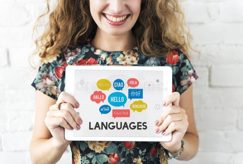 Conceito multilingue da tecnologia de línguas dos cumprimentos fotografia de stock