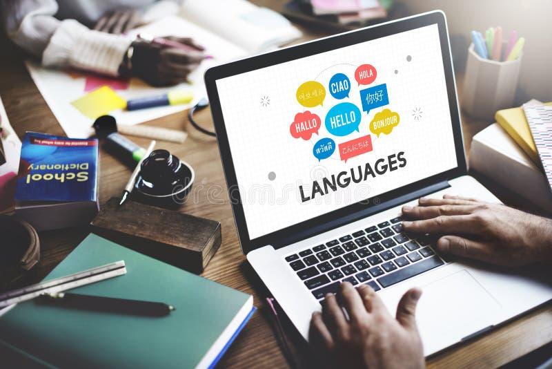 Conceito multilingue das línguas dos cumprimentos imagem de stock