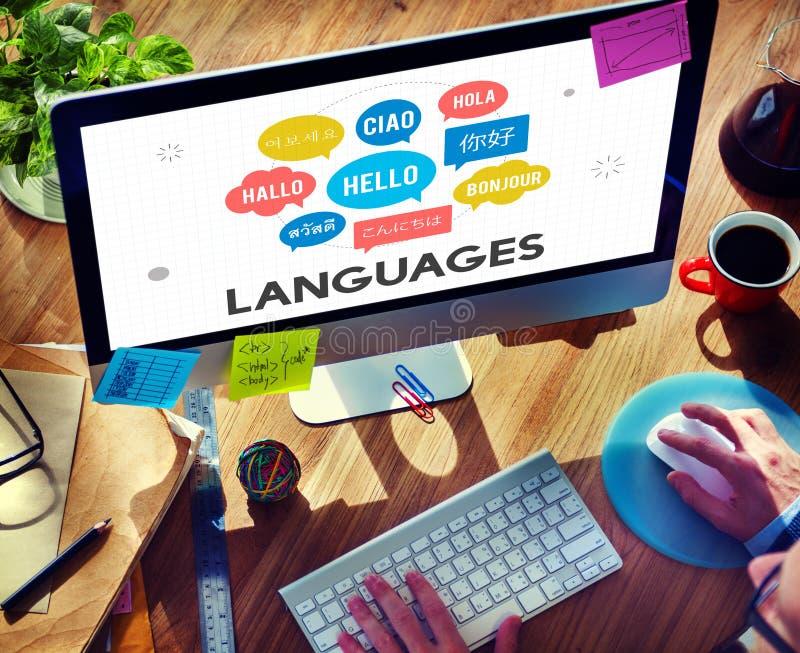 Conceito multilingue de uma comunicação das línguas dos cumprimentos imagem de stock