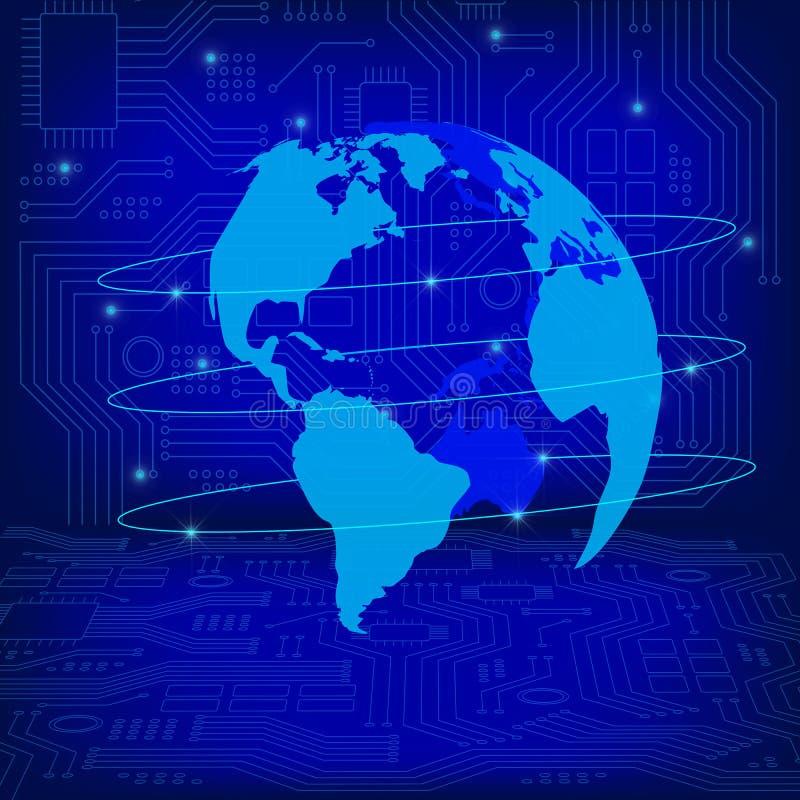 Conceito mundial da conexão Rede de comunicações globais Globo na textura do fundo da tecnologia da Alto-tecnologia no azul ilustração royalty free