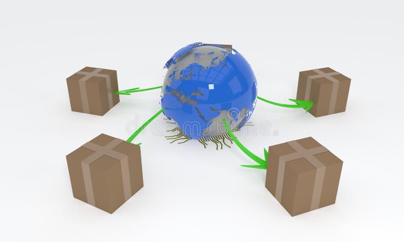 Conceito mundial do transporte, da rendição do fundo 3d ilustração do vetor