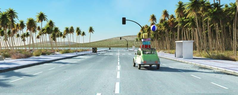 , conceito nós vamos à praia, carro que dirige à praia, carregada com as malas de viagem que voam para fora ilustração royalty free