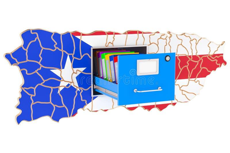 Conceito nacional do base de dados de Porto Rico, rendição 3D ilustração royalty free
