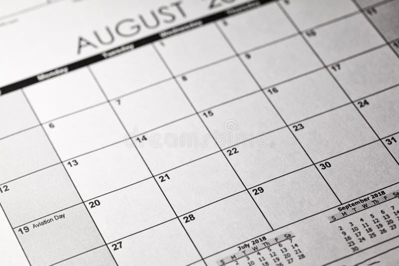 Conceito nacional do dia da aviação dos E.U. 19 de agosto de 2018 calendário foto de stock