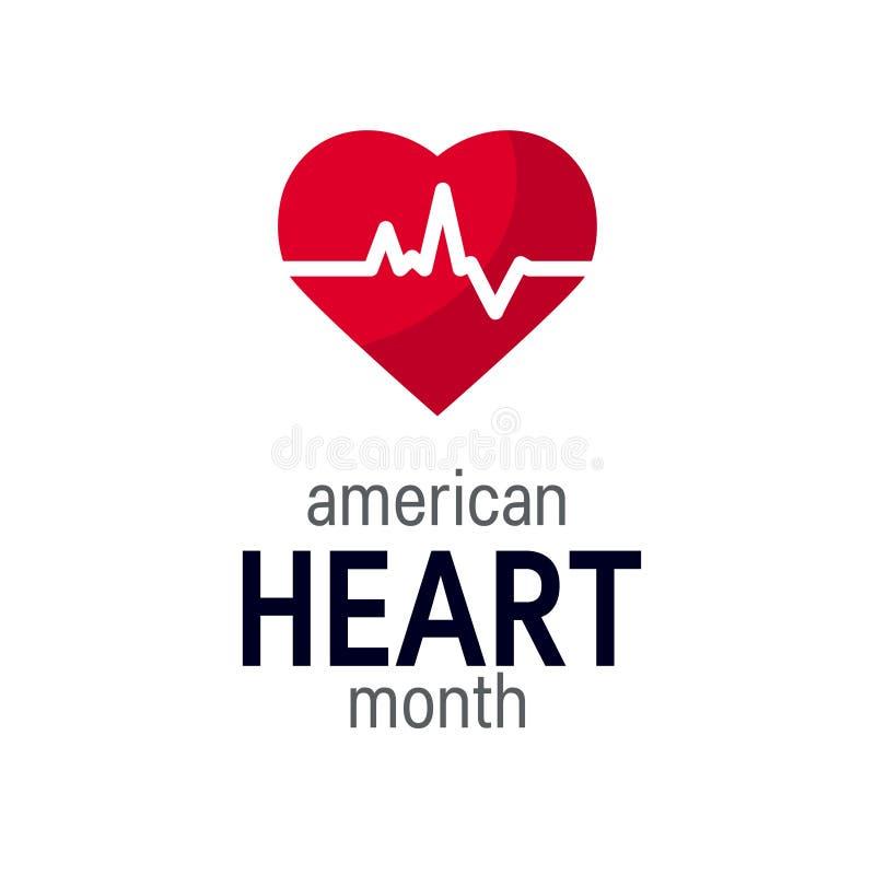 Conceito nacional do mês do coração no estilo liso ilustração royalty free