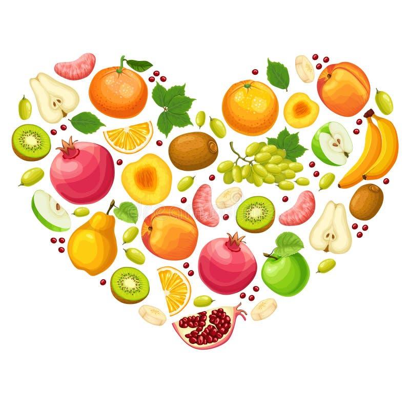 Conceito natural colorido dos frutos ilustração do vetor