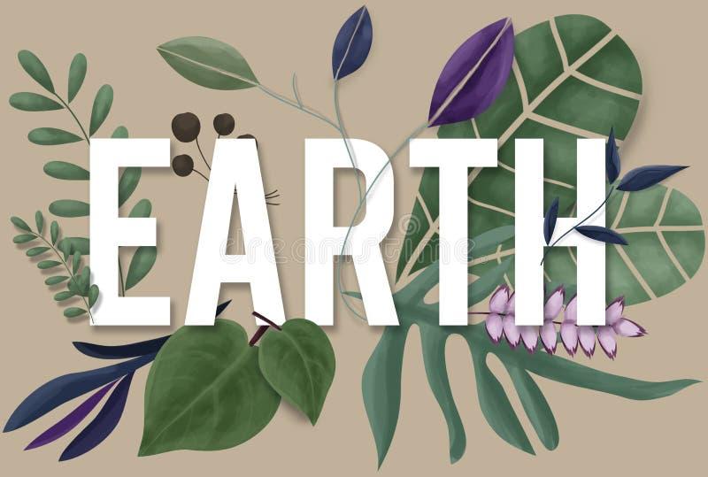 Conceito natural do crescimento da terra verde do ambiente da natureza ilustração do vetor