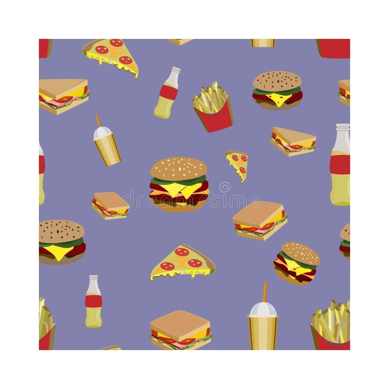Conceito no alimento da rua Teste padrão com fastfood ilustração do vetor