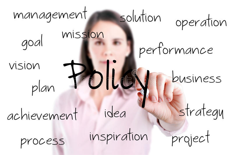 Conceito novo da política da escrita da mulher de negócio. foto de stock royalty free