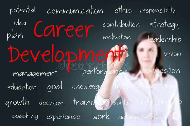 Conceito novo do desenvolvimento de carreira da escrita da mulher de negócio imagem de stock