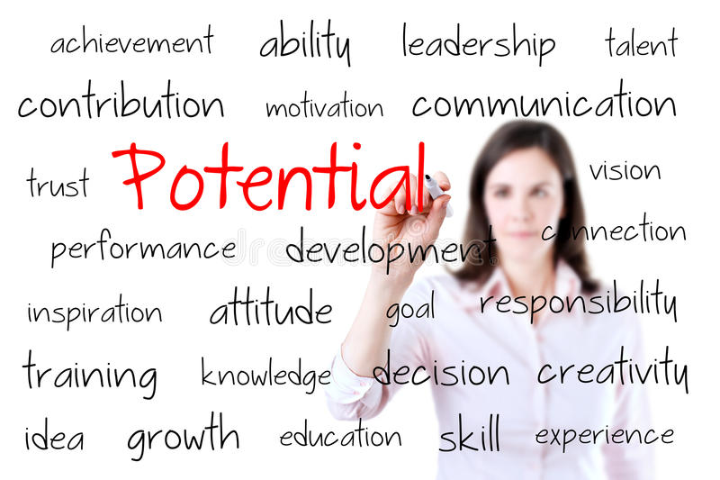 Conceito novo do potencial da escrita da mulher de negócio. Isolado no branco. fotos de stock royalty free