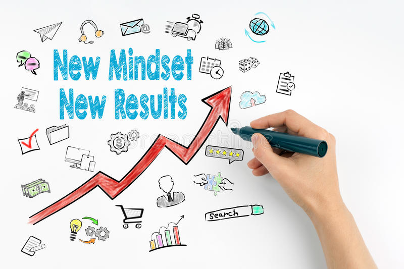 Conceito novo dos resultados do mindset novo Mão com escrita do marcador imagens de stock royalty free
