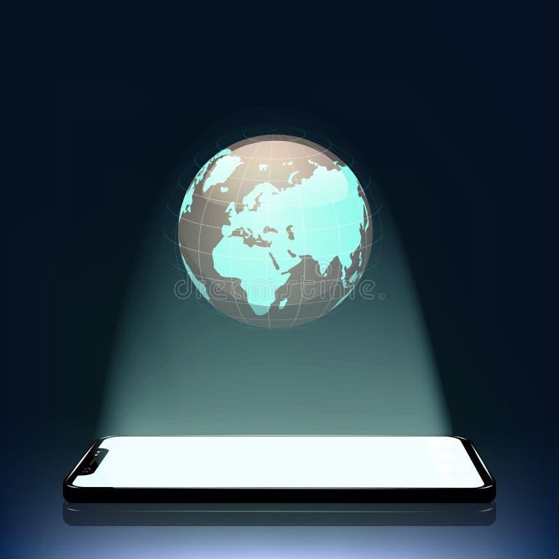 Conceito o mundo móvel Uma projeção holográfica da terra de seu telefone celular Tecnologia nova ilustração stock