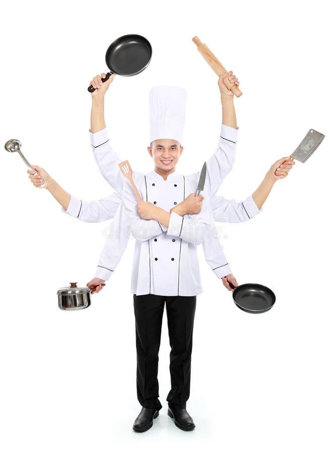 Conceito ocupado do cozinheiro chefe imagens de stock royalty free