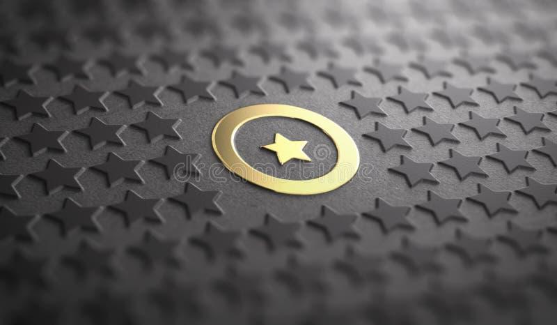 Conceito original ou da diferença Foco em uma estrela dourada ilustração stock