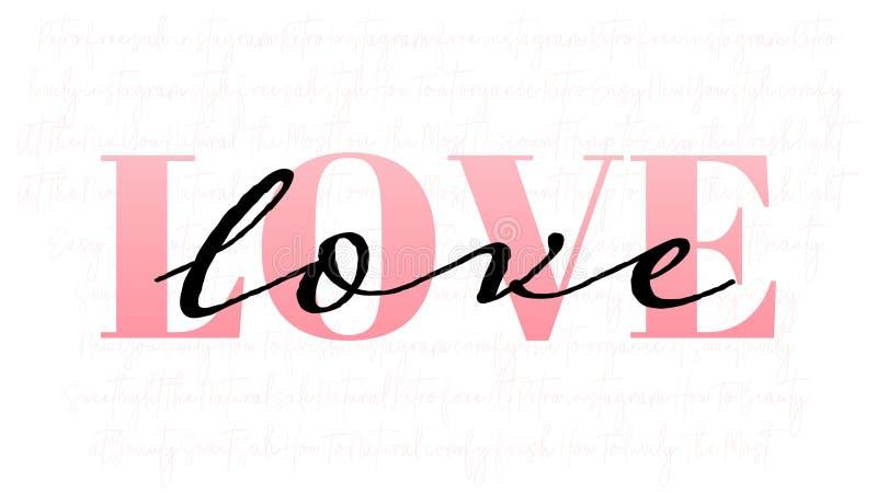 Conceito para o cartão, o inseto, o fundo abstrato para o dia de Valentim com amor cor-de-rosa da palavra e texto preto escrito à ilustração stock