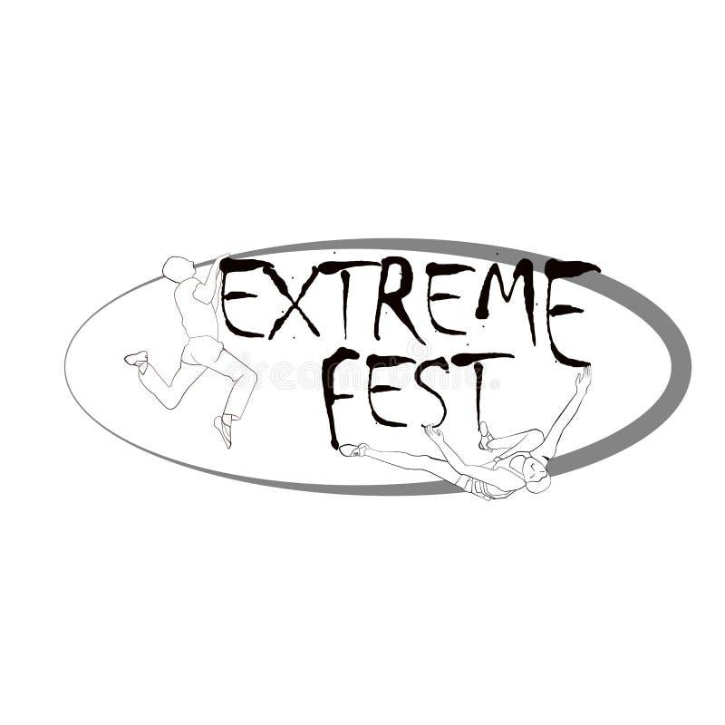 Conceito para o festival de escalada extremo, com a imagem de montanhistas de rocha ilustração do vetor