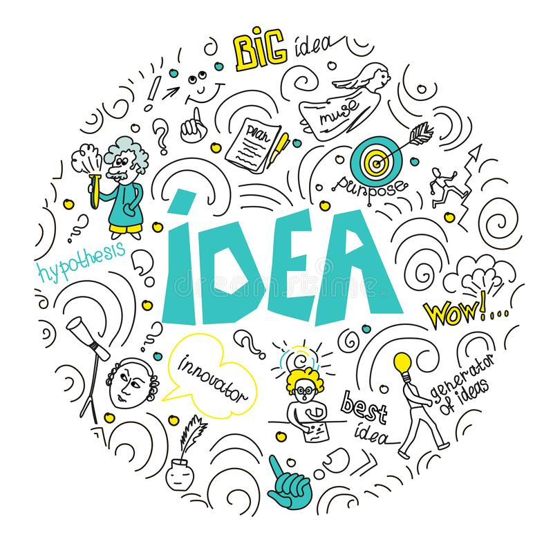 Conceito para o negócio, a finança, a consulta, a gestão, a análise, a estratégia e o planeamento, partida Ideia da ilustração do ilustração do vetor