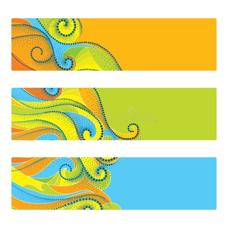 Conceito para o Rio 2016, Brasil, nas cores de jogos de Rio Olympic Elementos do verão no estilo do dotwork Bandeira, molde, cart ilustração do vetor