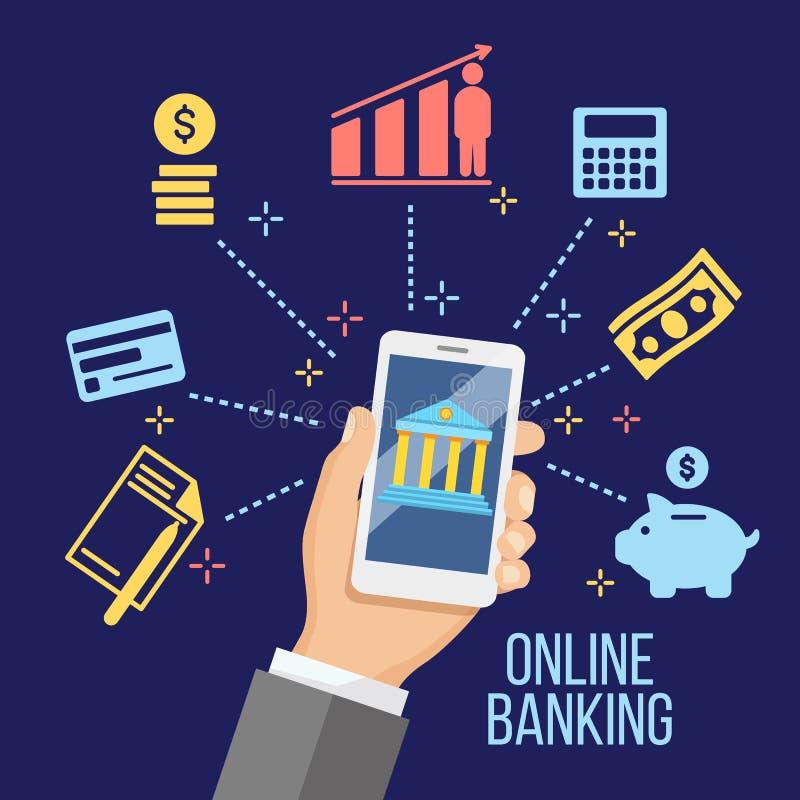 Conceito para a operação bancária móvel e o pagamento em linha ilustração stock