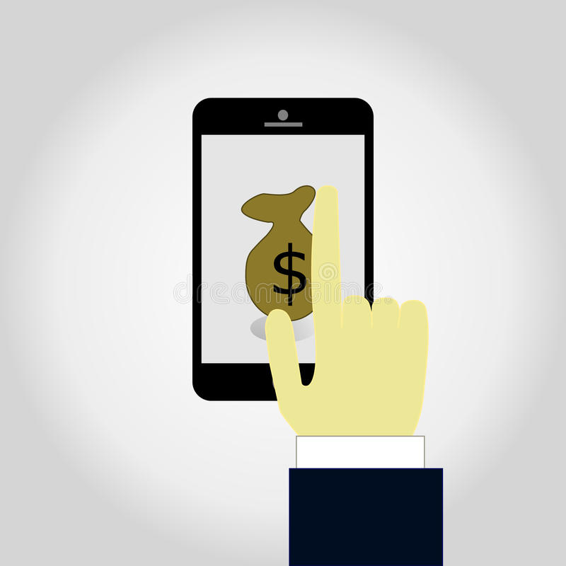 Conceito para a operação bancária móvel e o pagamento em linha Ilustração lisa do vetor ilustração do vetor