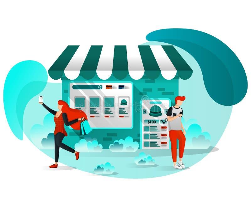 Conceito para Web site, documento da ilustração do vetor, meio, Apps, UI UX, cópia, cartaz Loja autônoma em linha A loja junta-se ilustração do vetor