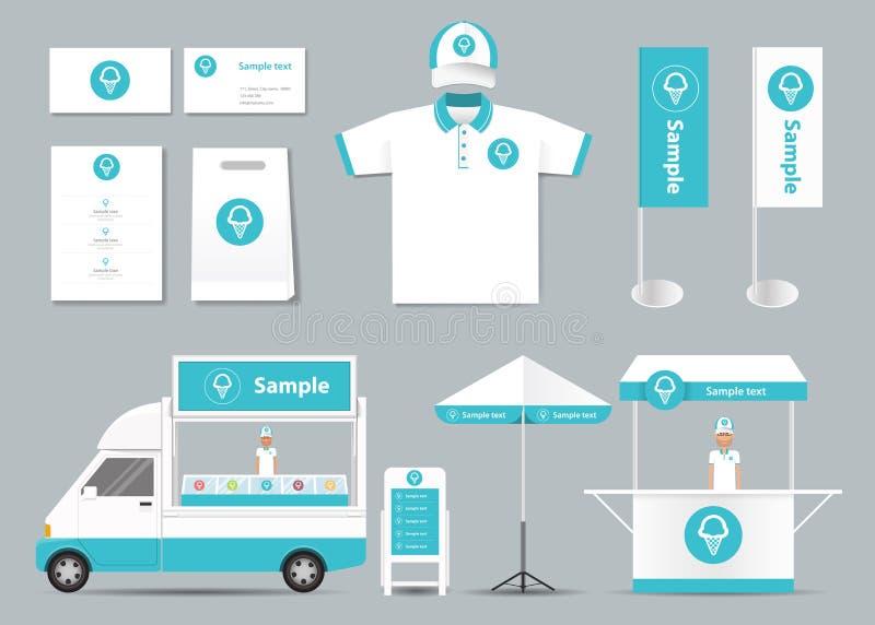 Conceito para a zombaria da identidade da loja de gelado acima do molde cartão menu Polo Shirt Vetor ilustração do vetor