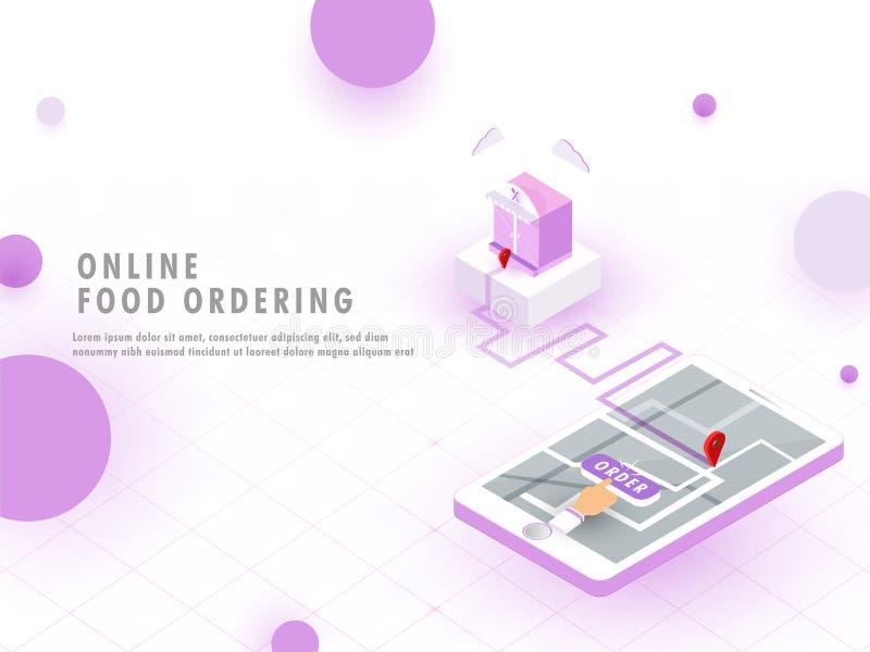 Conceito pedindo do alimento em linha, aplicação móvel do alimento no smartph ilustração do vetor