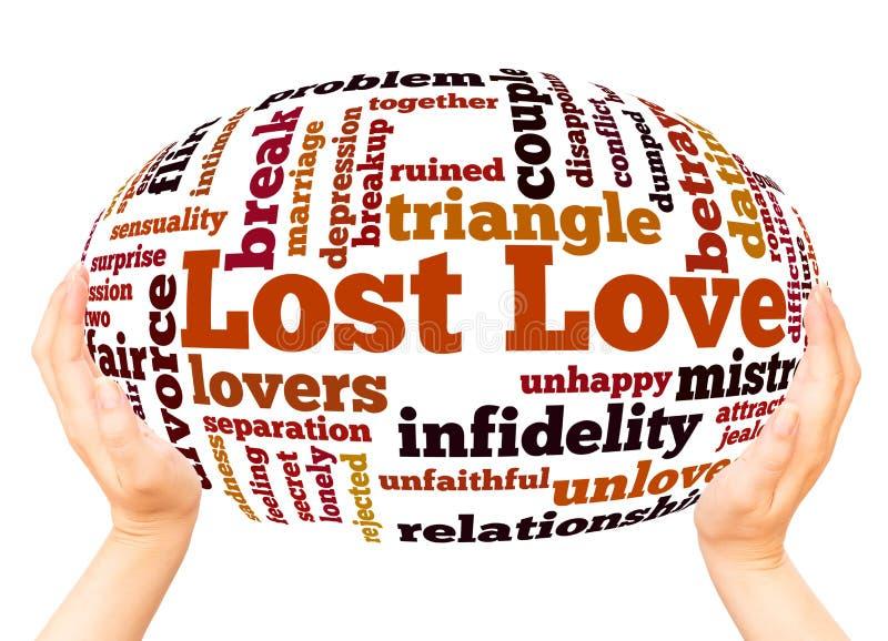 Conceito perdido da esfera da mão da nuvem da palavra do amor imagens de stock royalty free