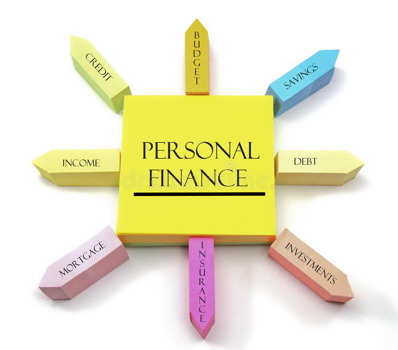 Conceito pessoal da finança em notas pegajosas arranjadas foto de stock royalty free