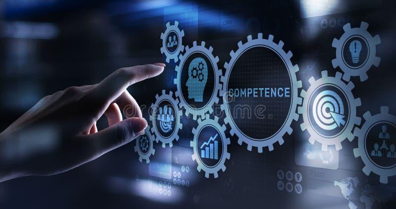 Conceito pessoal do negócio do desenvolvimento da habilidade da competência na tela virtual ilustração royalty free