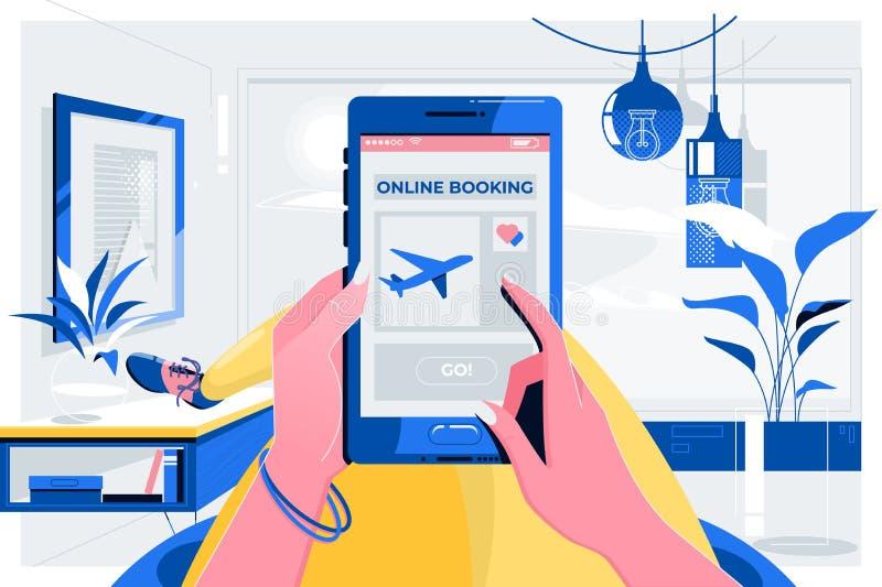 Conceito plano de viagem do voo do registro em linha Mãos fêmeas que guardam o telefone com a tela do registro do app Ilustra??o  ilustração stock