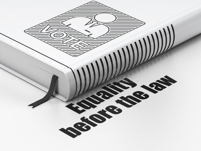Conceito político: cédula do livro, igualdade antes da lei no fundo branco ilustração royalty free