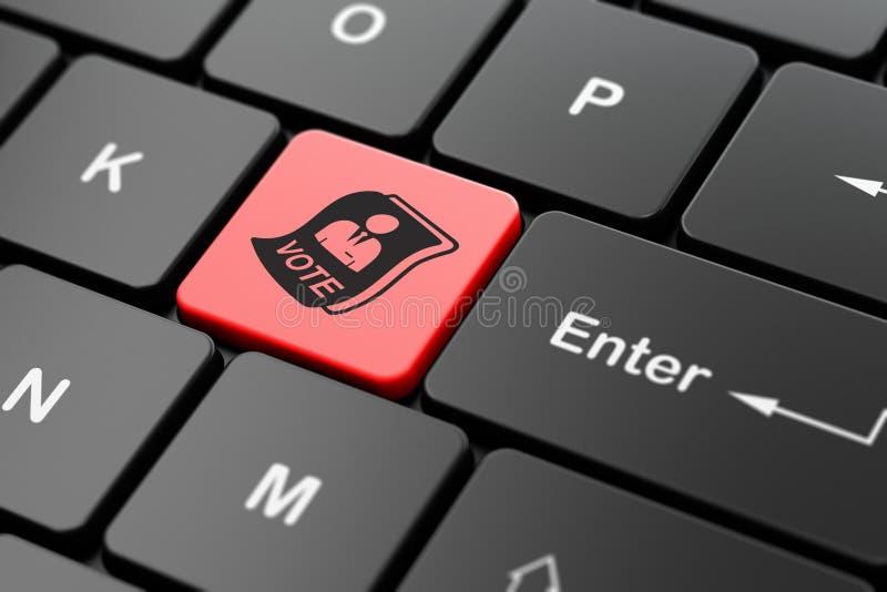 Conceito político: Cédula no fundo do teclado de computador ilustração stock