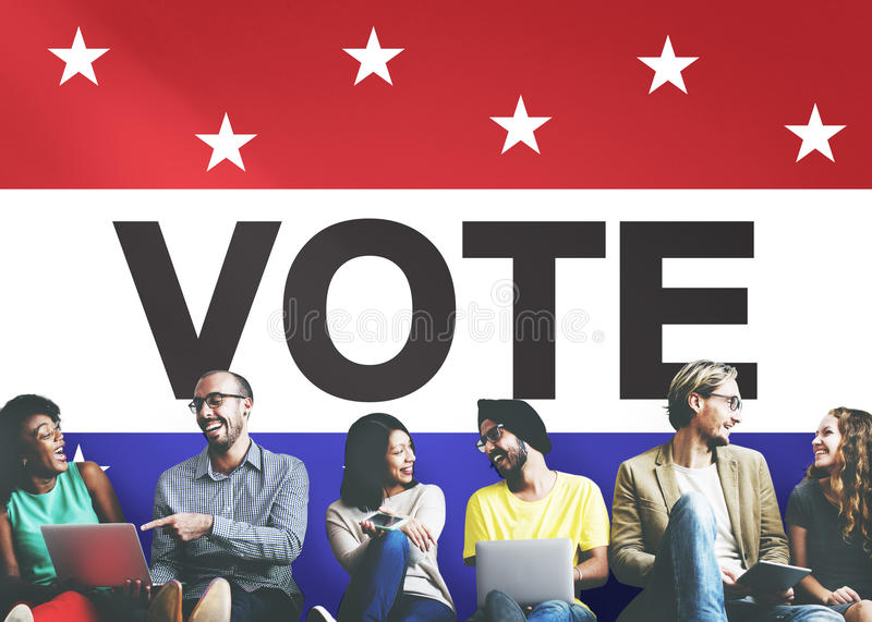 Conceito político de votação da democracia da decisão da eleição do voto fotografia de stock