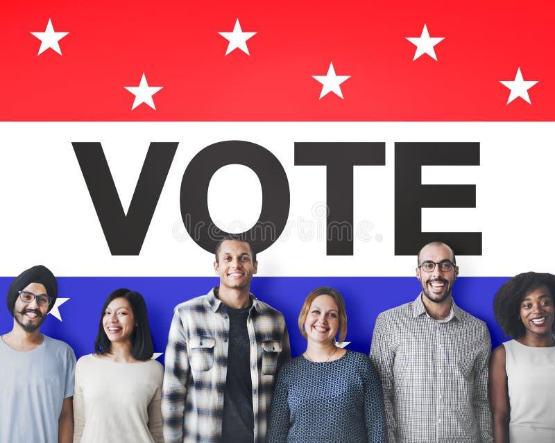 Conceito político de votação da democracia da decisão da eleição do voto imagem de stock
