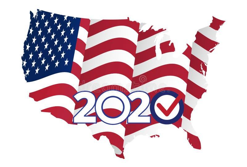 Conceito político do evento, Estados Unidos da América 2020 ilustração royalty free