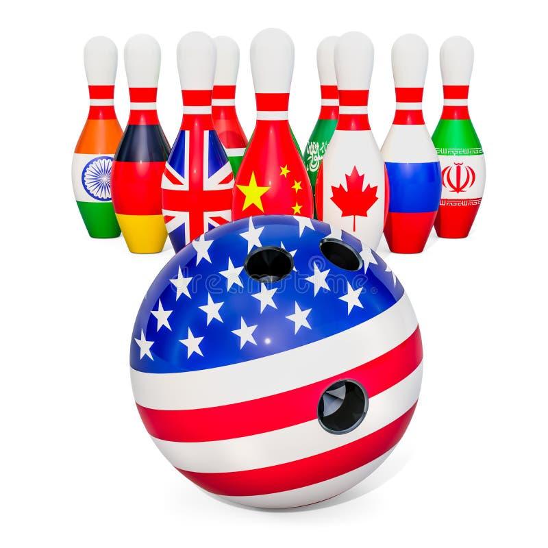 Conceito político global do conflito rendição 3d ilustração royalty free