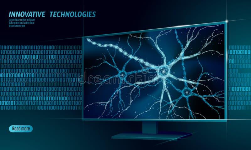 Conceito poli da anatomia do neurônio humano baixo Computação esperta artificial da nuvem da exposição da casa da tecnologia de r ilustração do vetor