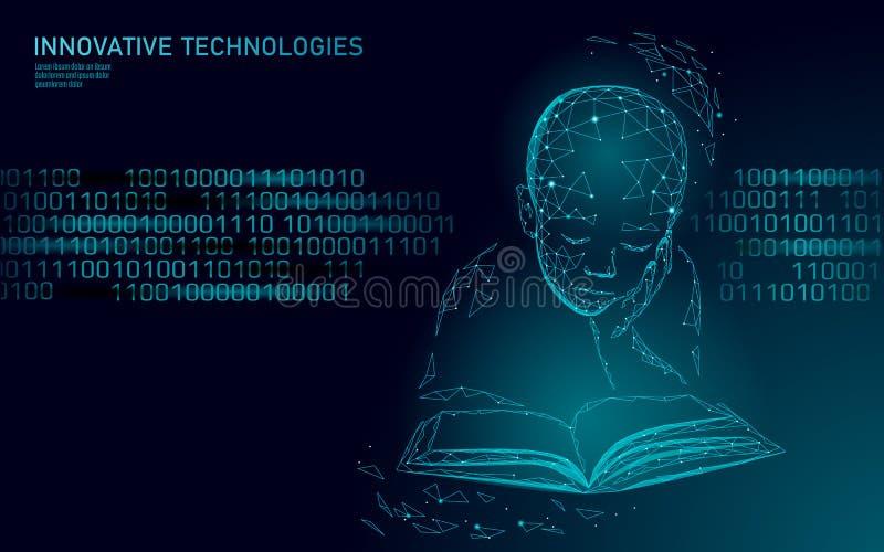 Conceito poli do negócio da tecnologia 3D da aprendizagem de máquina baixo Forma do menino da criança do cyborg da inteligência a ilustração stock