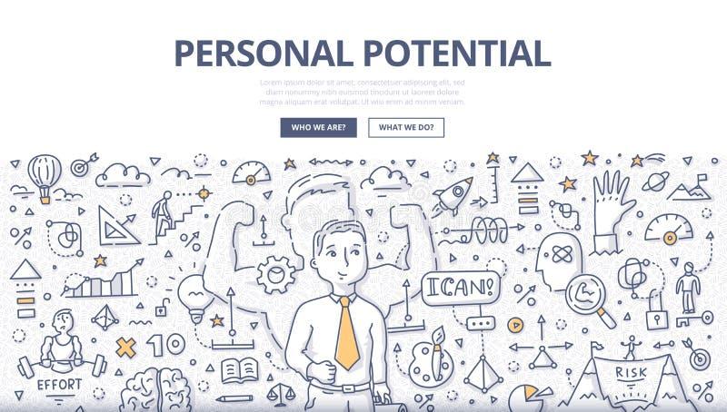 Conceito potencial pessoal da garatuja ilustração stock