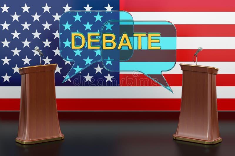 Conceito presidencial americano do debate dos EUA com microfones ilustração stock