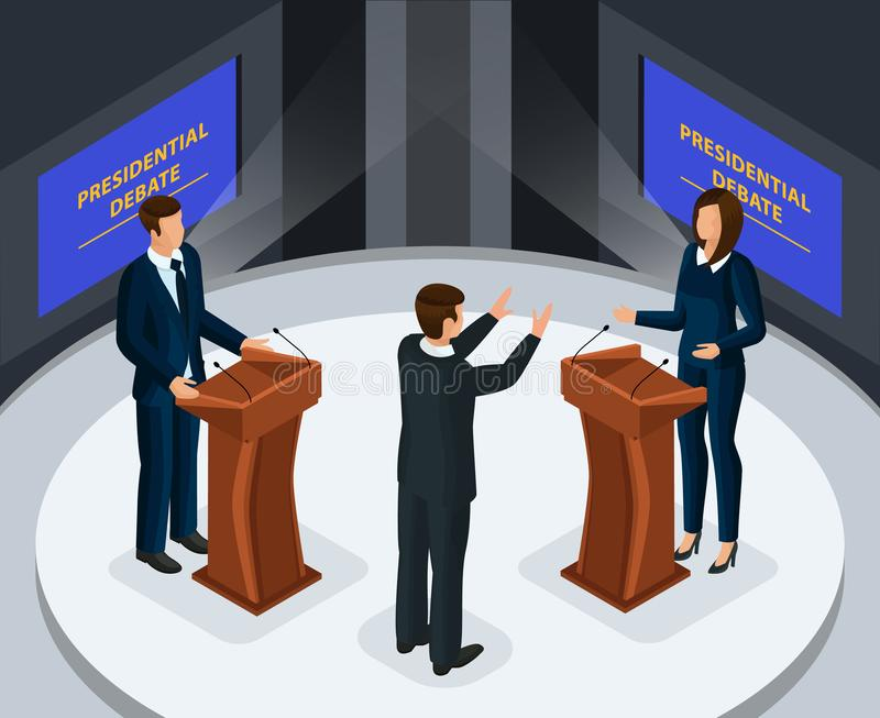 Conceito presidencial isométrico dos debates ilustração royalty free