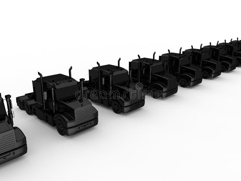 Conceito preto da frota de caminhão ilustração do vetor