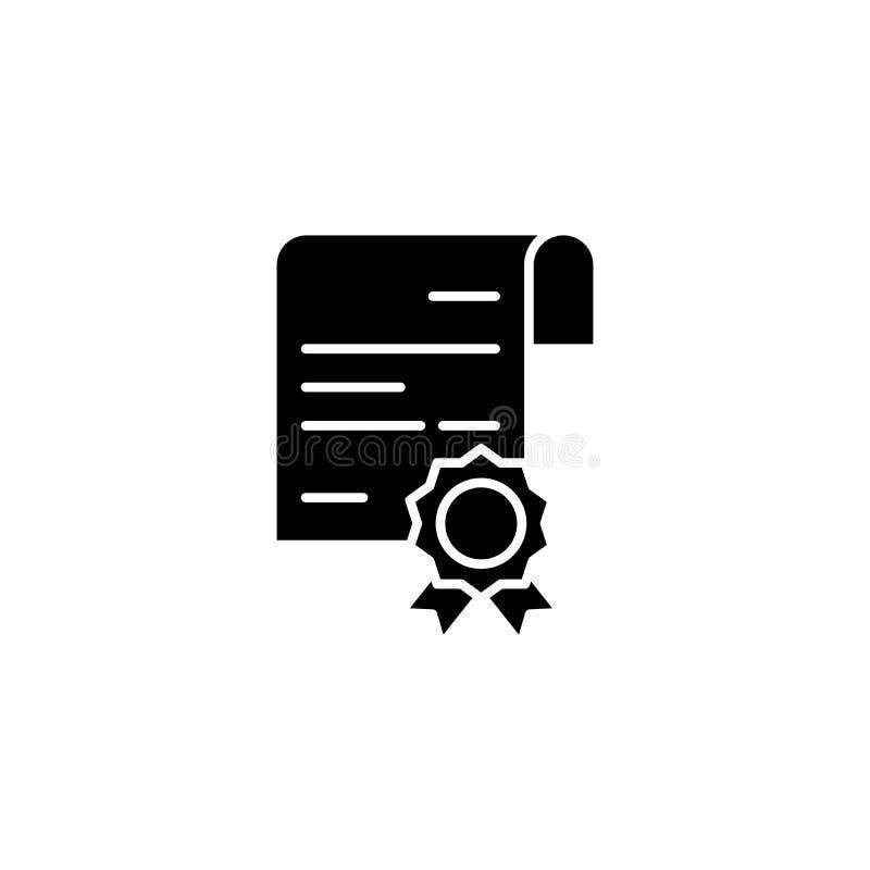 Conceito preto do ícone do certificado Certificate o símbolo liso do vetor, sinal, ilustração ilustração do vetor