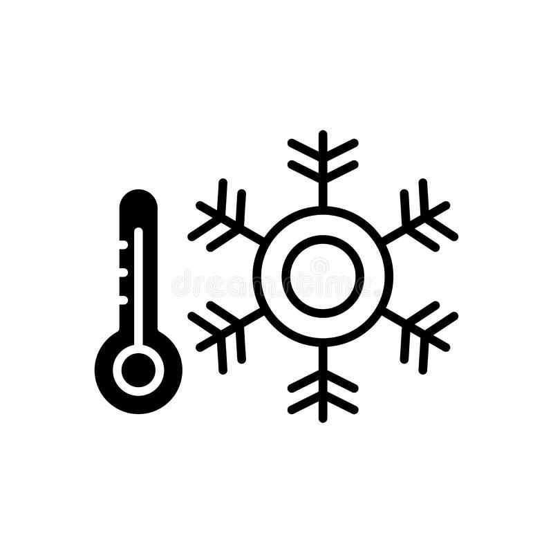 Conceito preto do ícone do condicionamento de ar Símbolo liso do vetor do condicionamento de ar, sinal, ilustração ilustração stock