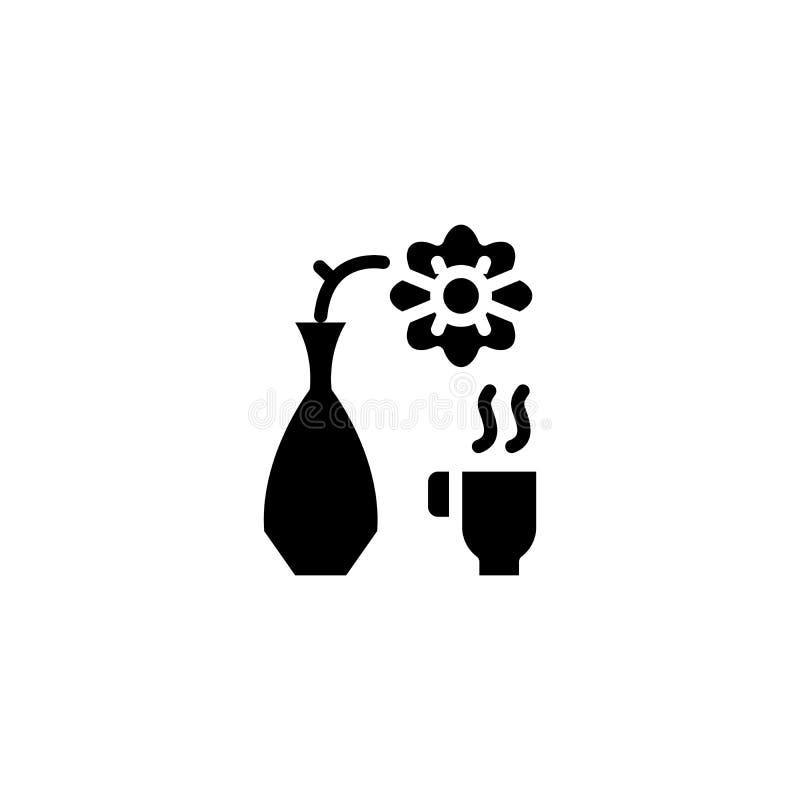 Conceito preto do ícone da xícara de café Símbolo liso do vetor da xícara de café, sinal, ilustração ilustração stock